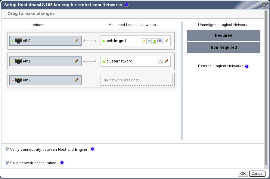 Setup Host Networks Window