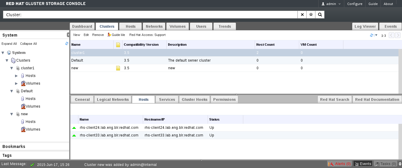 The Hosts tab on the Cluster Details pane