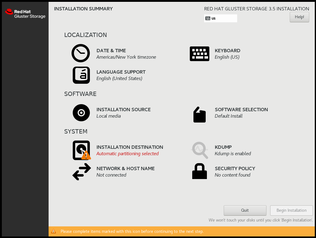 Installation Summary for Red Hat Gluster Storage 3.5 on Red Hat Enterprise Linux 7