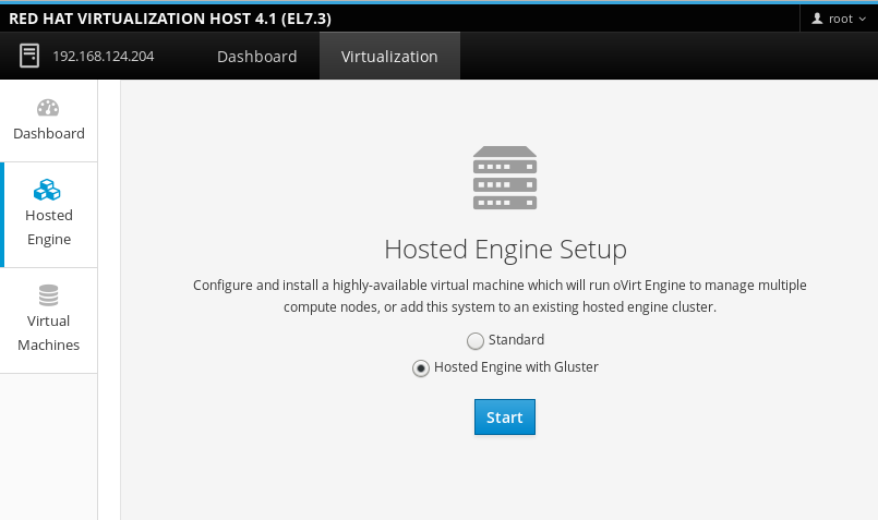Hosted Engine Setup screen with the Hosted Engine with Gluster radio button selected