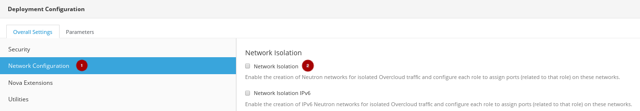 RH OSP Director Overall Settings Network Configuration mod