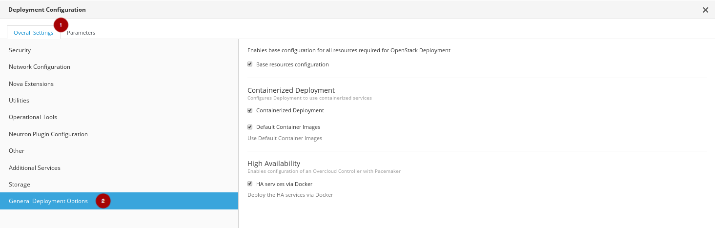 RH OSP Director Configure the General Deployment Options mod