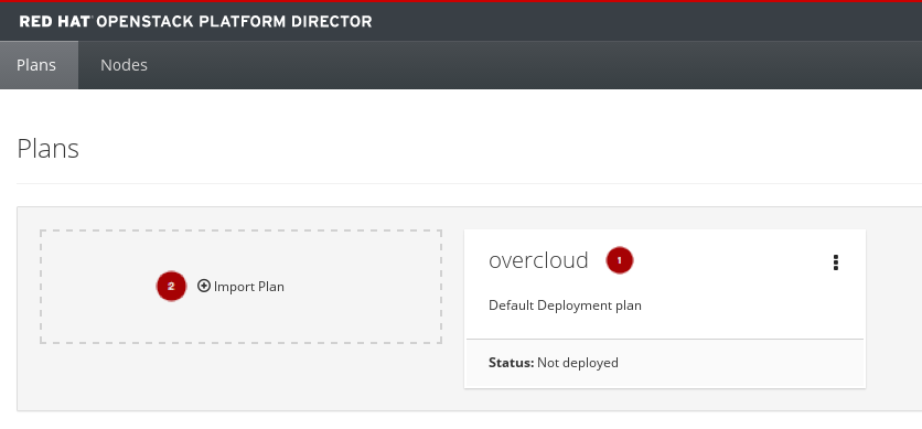 RH OSP Director Manage Plans Screen Import or Overcloud Plan mod
