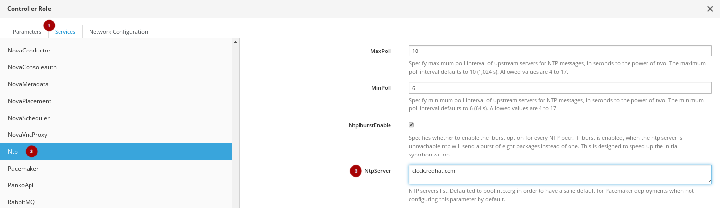 RH OSP Director Configure the NtpServer Field mod