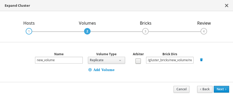 The Volumes tab of the Gluster Deployment window