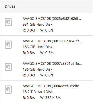 A list of drives attached to the server