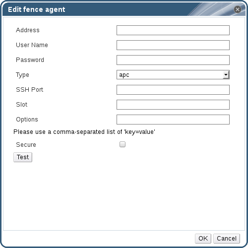 The Edit fence agent window