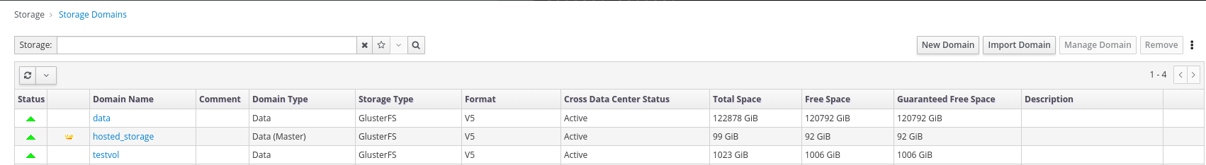 Administration Console storage domain dashboard