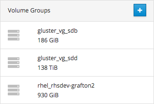 A list of volume groups on the server