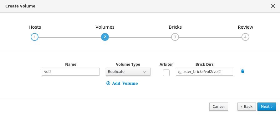 The Volumes tab of the Create Volume window