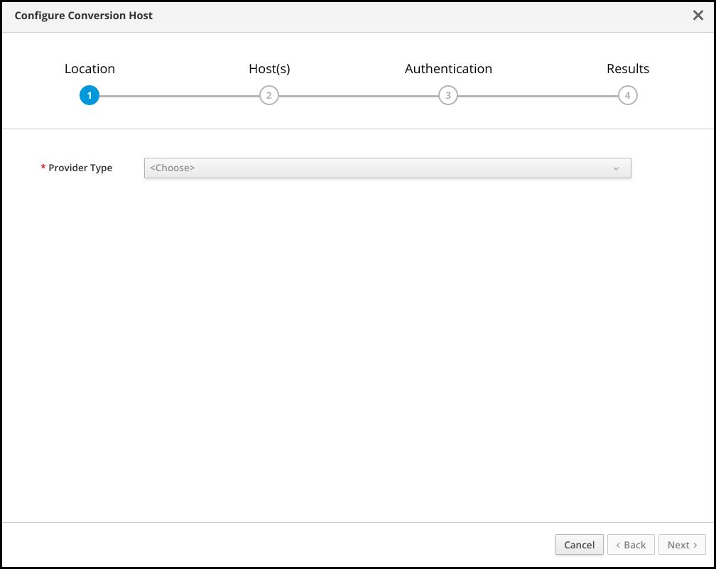 Conversion host configuration ui