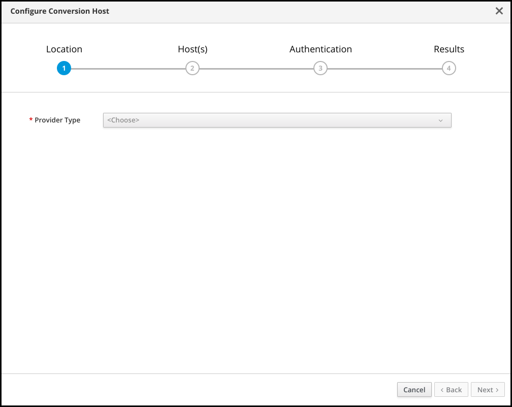 Conversion host configuration ui