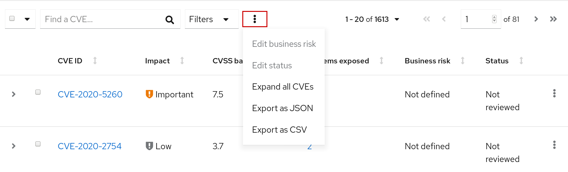 vuln export more actions