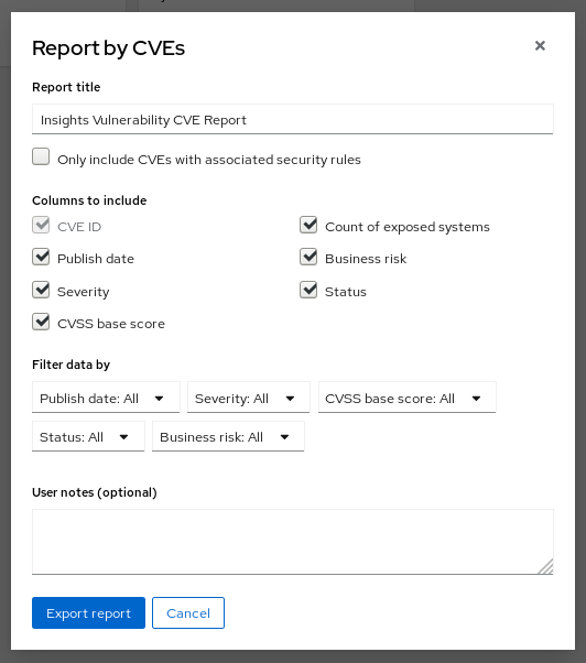 vuln report report by cves modal
