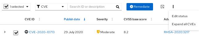 img vuln assess system cve edit status pair