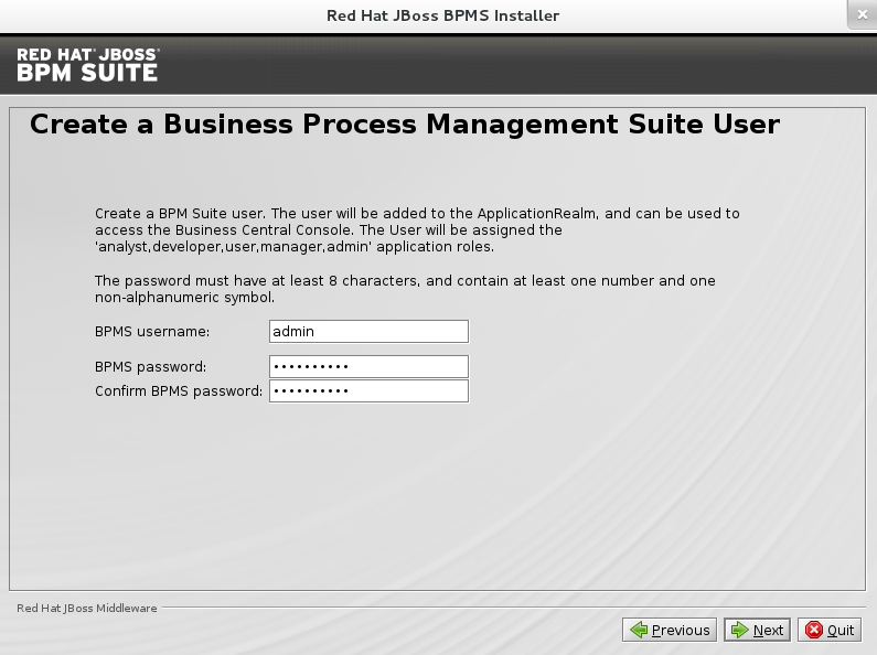 The image depicts the creation of the username and password for the BPM Suite Installer.