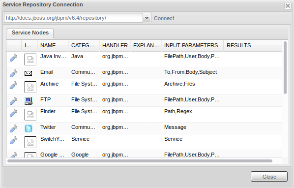 Service Repository Connection window with loaded content.