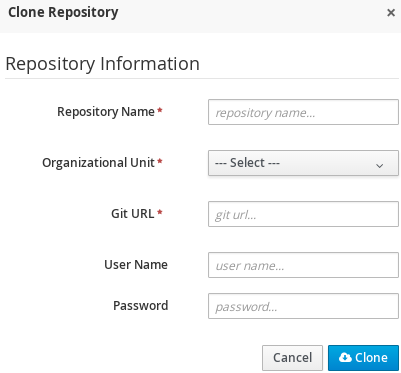 A screenshot of the Clone Repository dialog window.