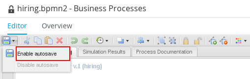 Enable autosave feature in Process Designer.