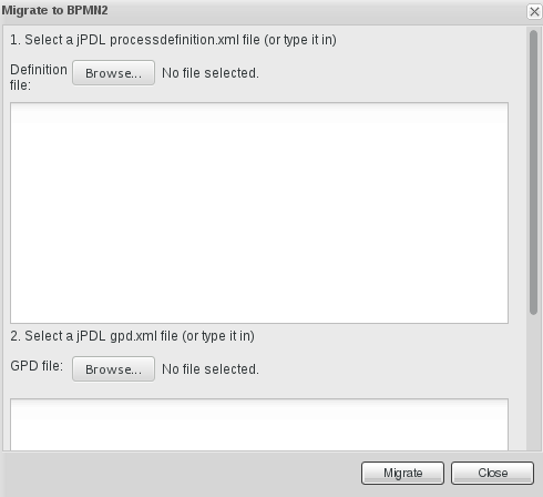 Window displayed for migrating definition files to BPMN2.