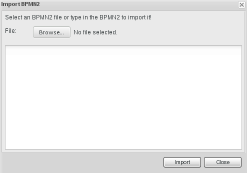 Import window for Business Process Editor displaying imports from BPMN2.