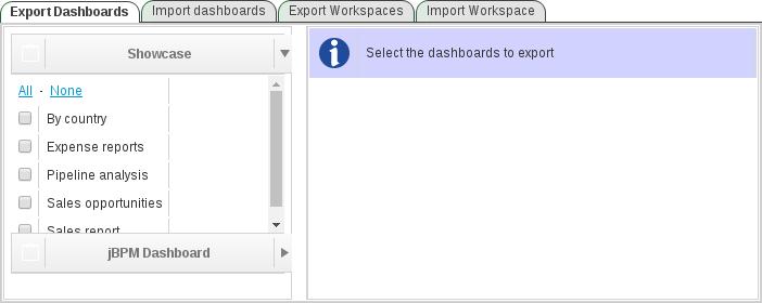 export dashboards