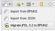 Image of selecting the Migrate jPDL 3.2 to BPMN2 button