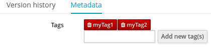 Tags created in Metadata View