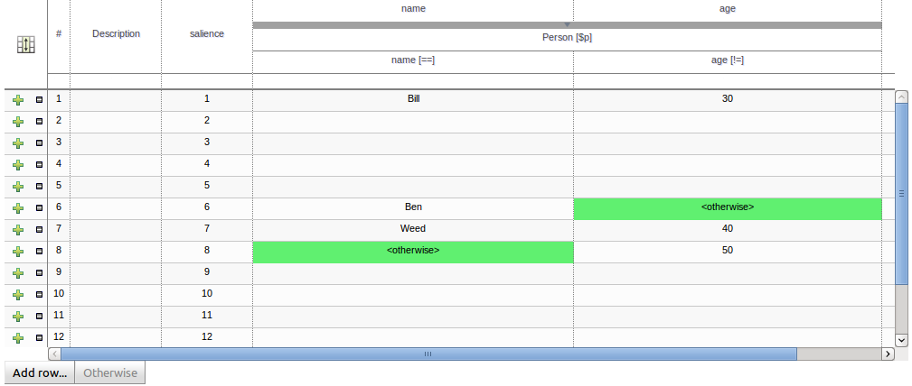 A screen shot of a decision table.