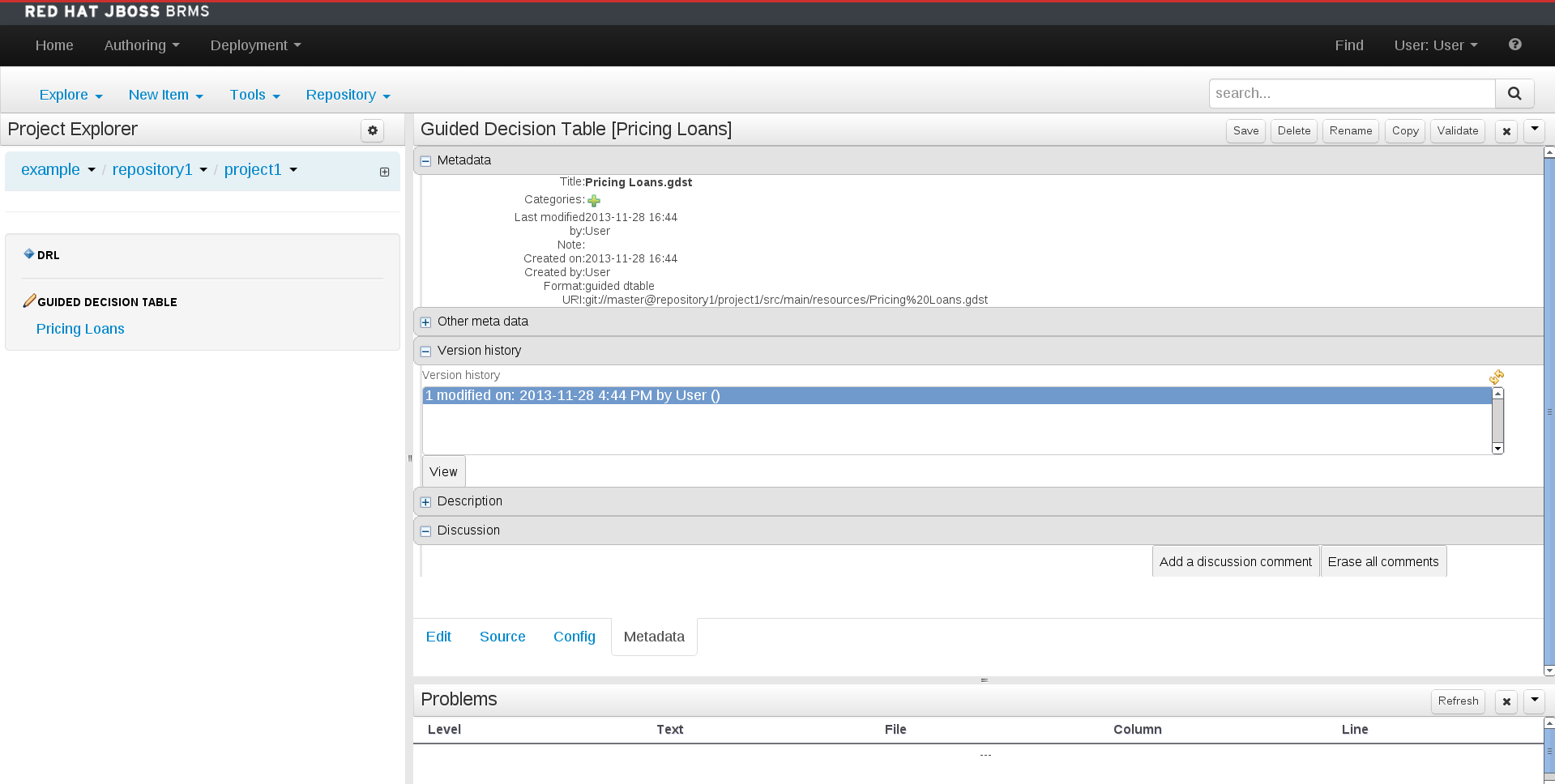 A screen shot of the asset editor - metadata tab