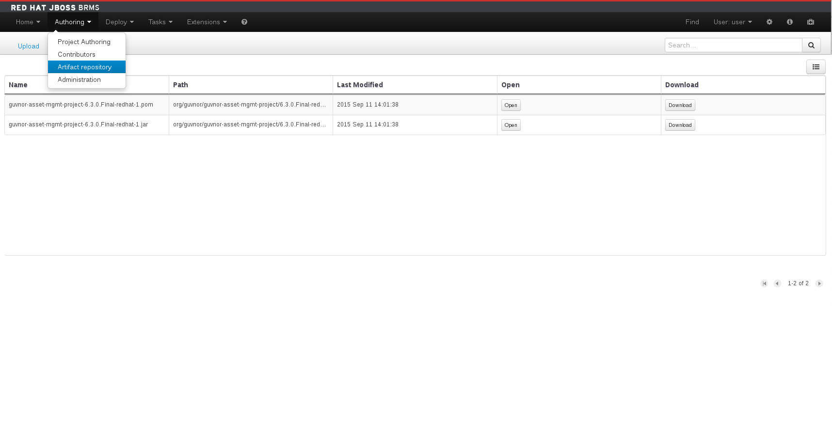 A screenshot of the BRMS Asset Editor - Guvnor M2 Repository Explorer
