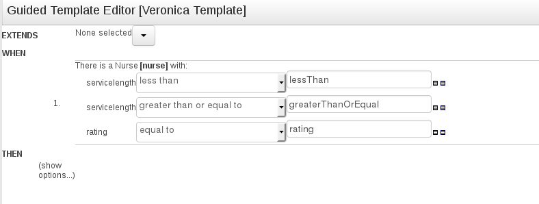 Multiple WHEN constraints for Guided Template Editor in BRMS User Guide 6.0.2