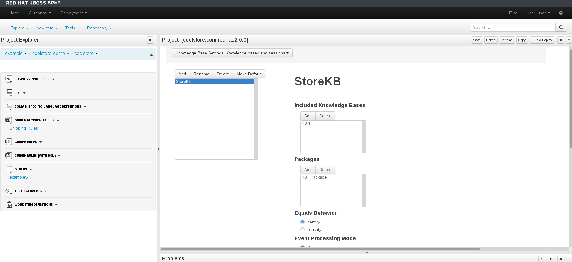 A screenshot of the BRMS Project Editor - Knowledge Base and Session Settings Screen