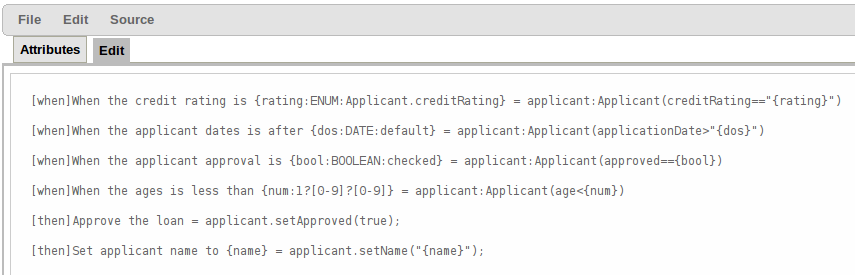 A screenshot of the DSL editor