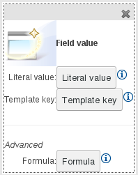 Field Value options for the Guided Template Editor in BRMS User Guide 6.0.1