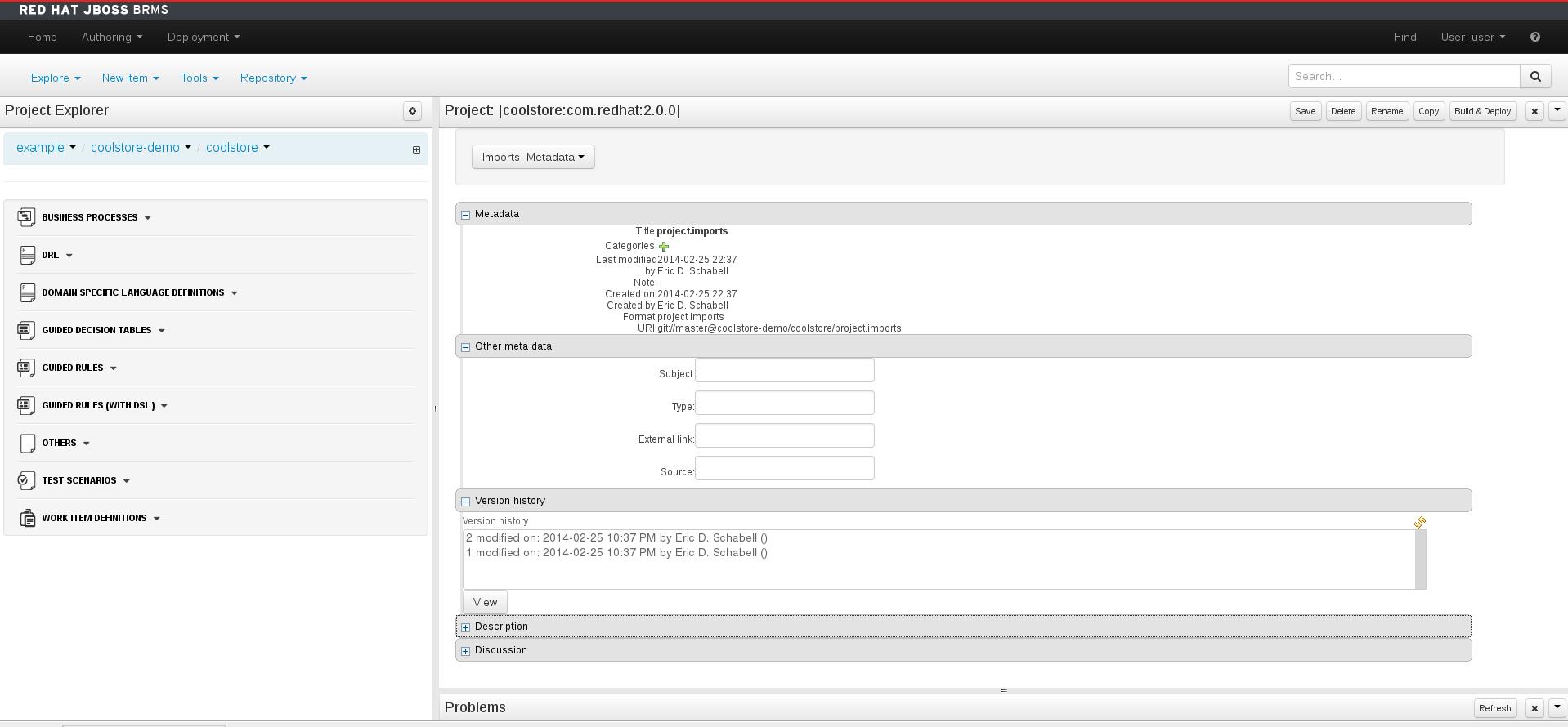 A screenshot of the BRMS Project Editor - Metadata Screen
