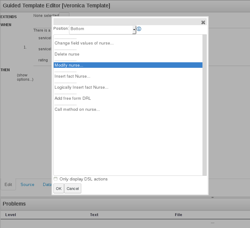 Guided Template Editor dialog window for BRMS User Guide 6.0.2