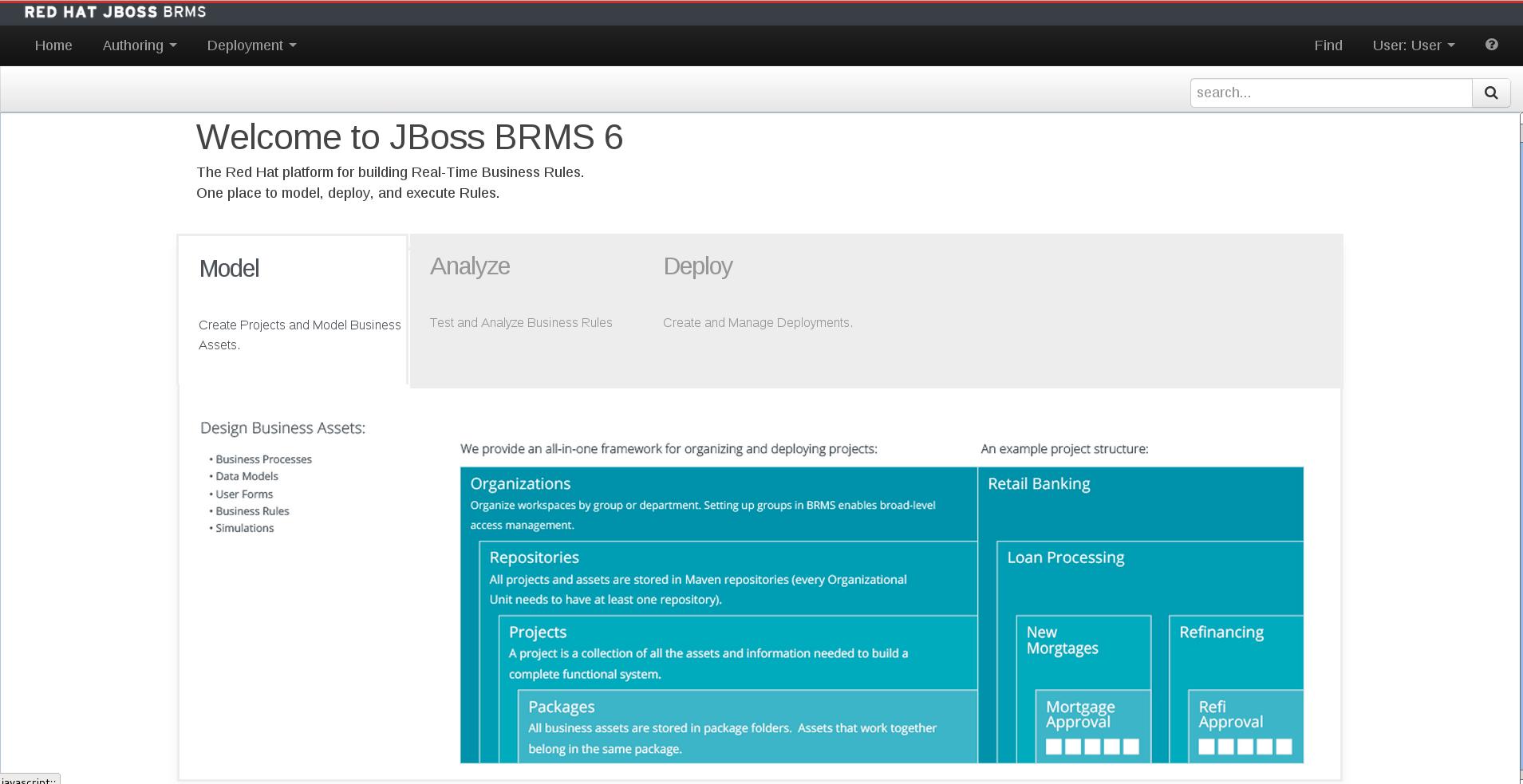 A screenshot of the BRMS Home Screen