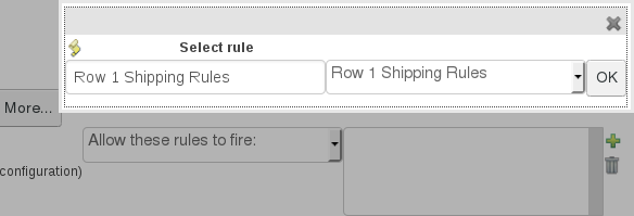 Configuration select rule options for the JBoss BRMS Test Scenario feature.