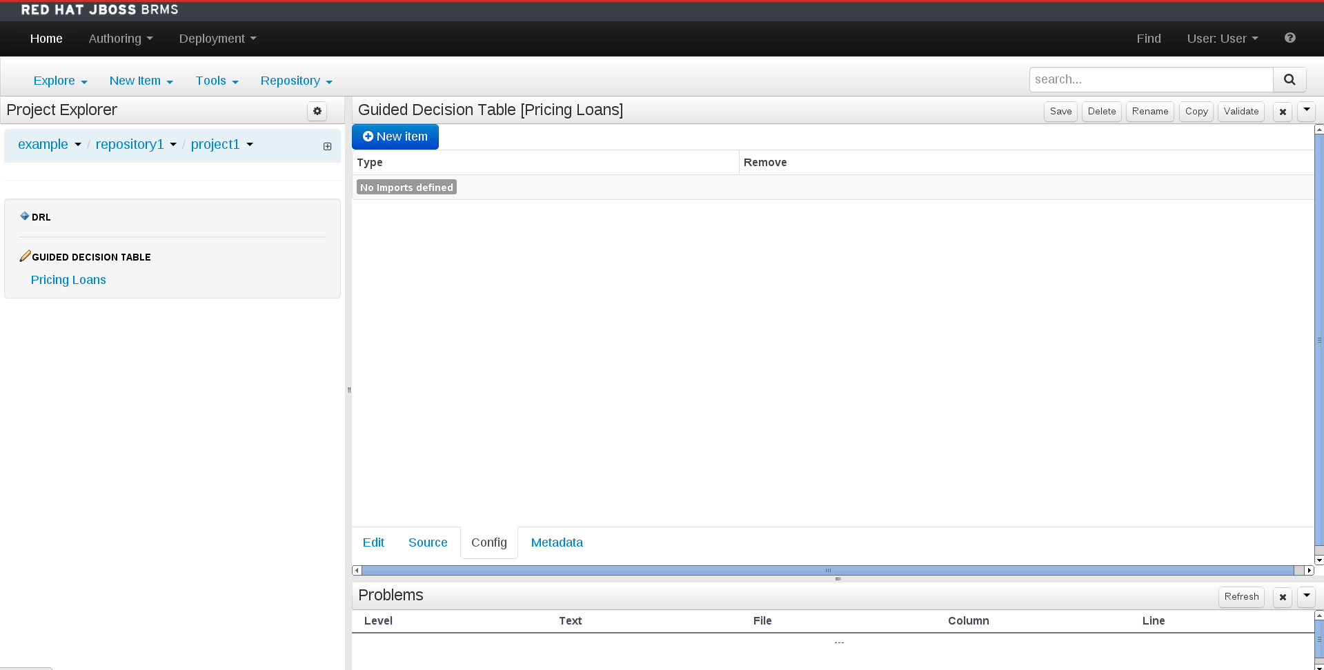 A screen shot of the asset editor - config tab