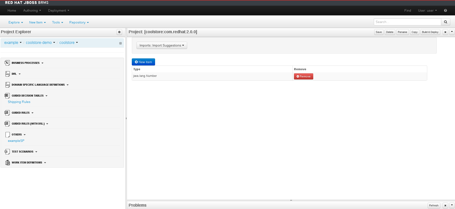 A screenshot of the BRMS Project Editor - Imports Screen