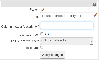 New Fact Field Value with Work Item Parameter column for Guided Decision Table Editor in BRMS User Guide 6.0.2