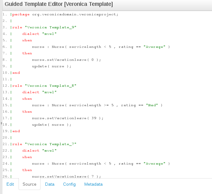 Code Source information for the Guided Template Editor in BRMS User Guide 6.0.2