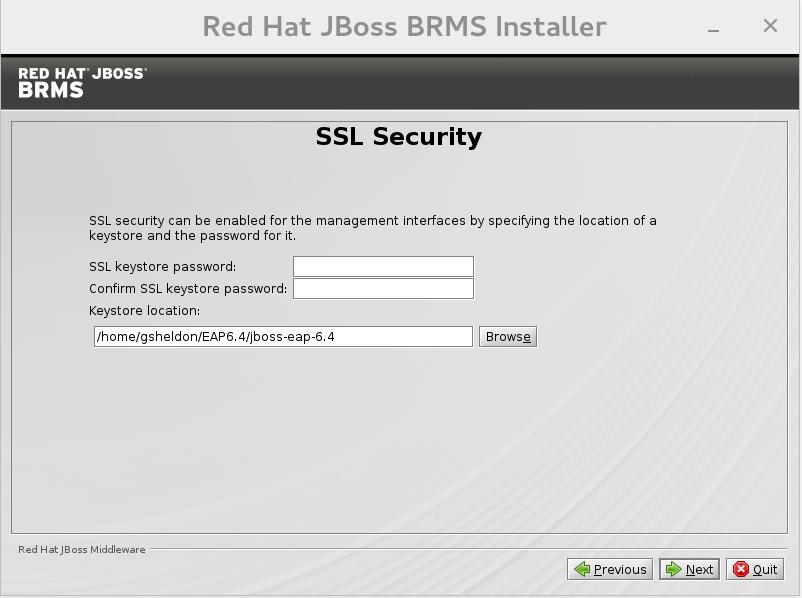 SSL security configuration.
