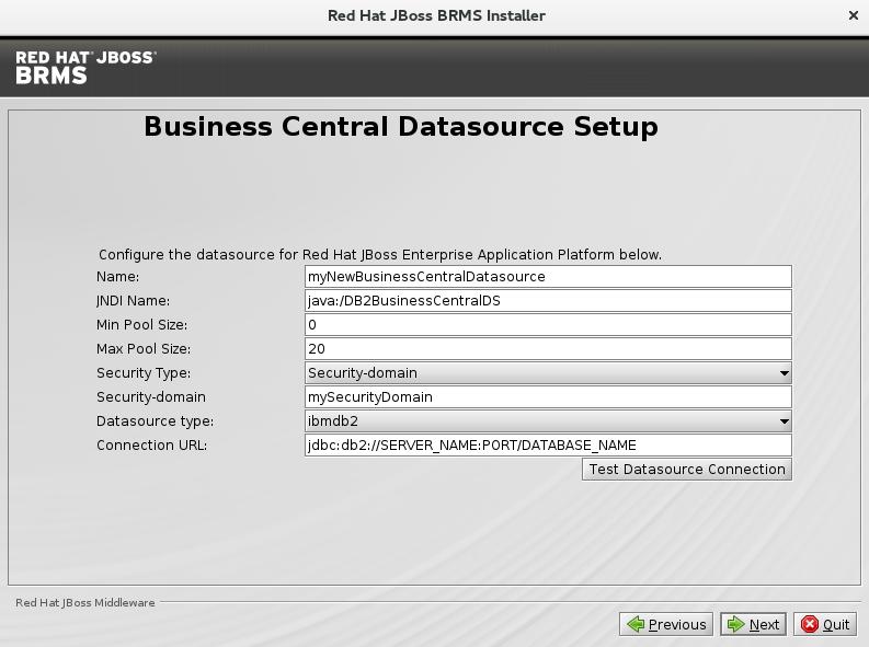 BC DataSource Setup BRMS