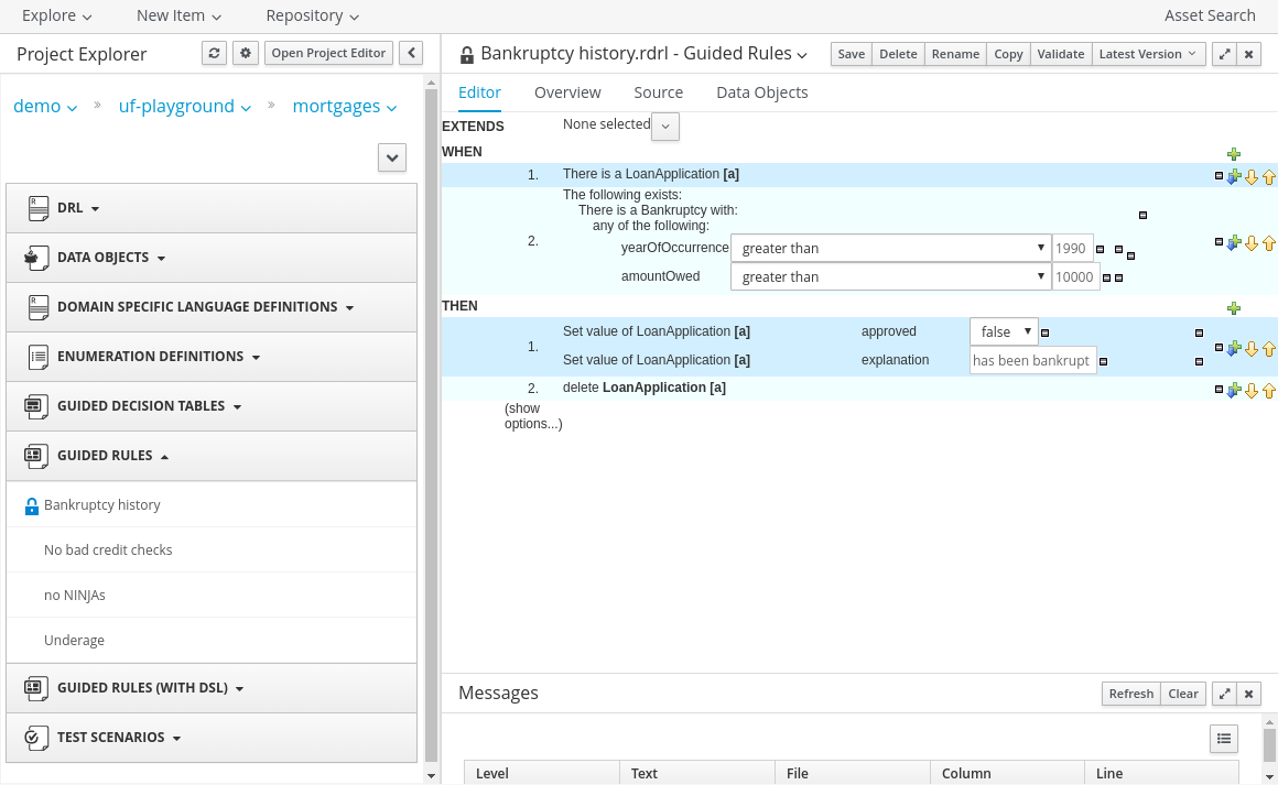 Red Hat JBoss BRMS Guided Template Editor screenshot example for BRMS USer Guide 6.0.2.