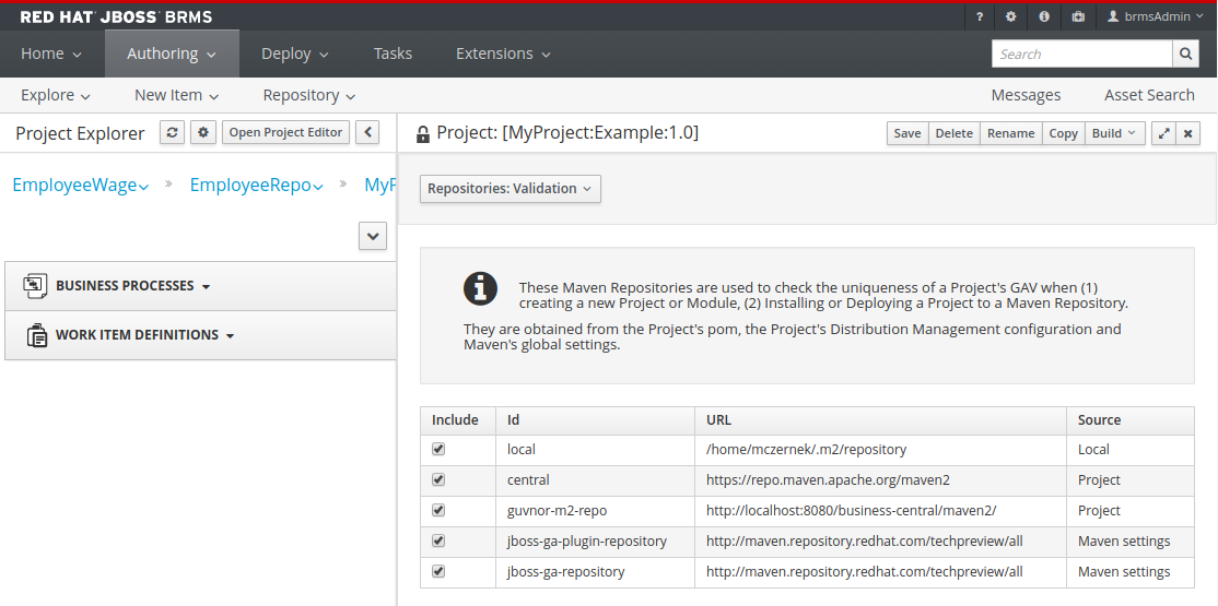 A screenshot of the BRMS Project Editor - Validation Screen