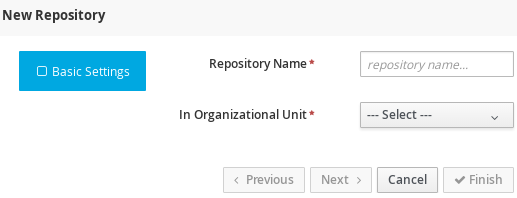 A screenshot of the New Repository dialog window.