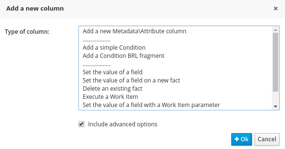 Add column pop-up for Guided Decision Tables in BRMS User Guide 6.0.2