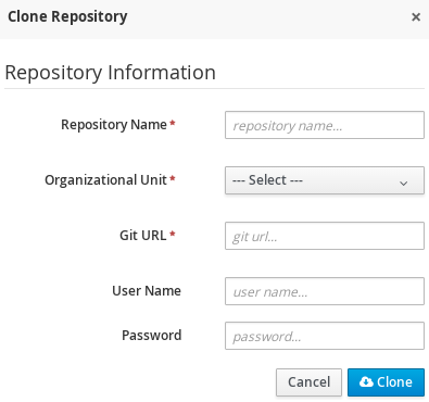 A screenshot of the Clone Repository dialog window.
